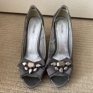 Nicole Jewelled Grey/Purple Heels - Size 8